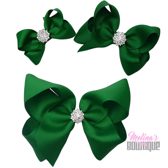 Emerald Green Bling Bows