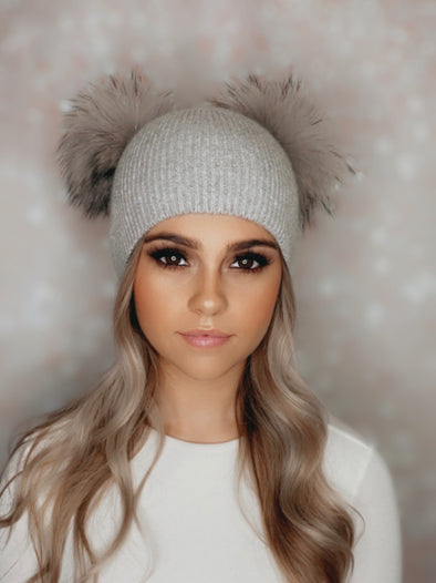 Grey Ribbed Angora Beanie