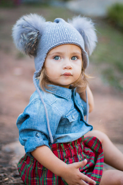 Grey Crystal Double Pom Hat