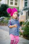 Hot Pink Crystal Double Pom Hat