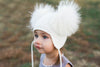 Ivory Crystal Double Pom Hat