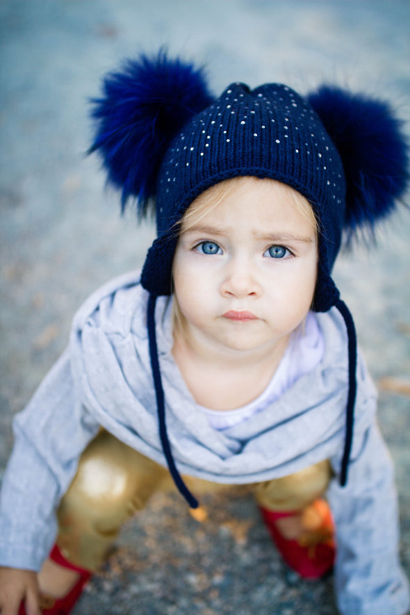 Navy Crystal Double Pom Hat