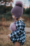 Mauve Triple Pom Knit Hat w/ Braids