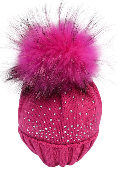 Hot Pink Crystal Beanie