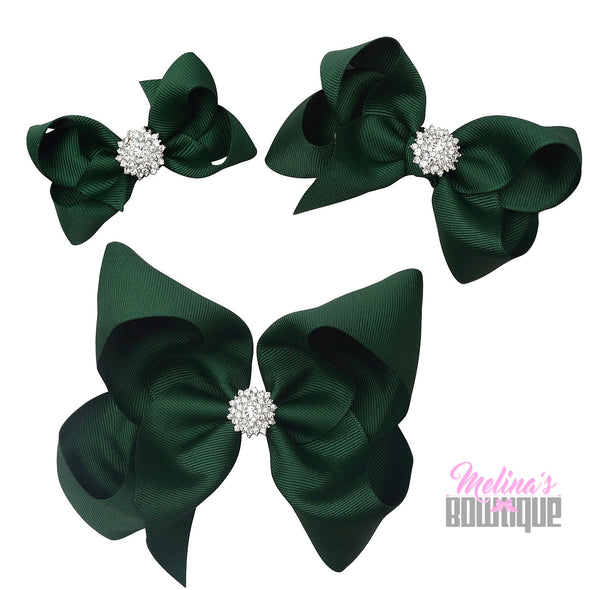 Hunter Green Bling Bows