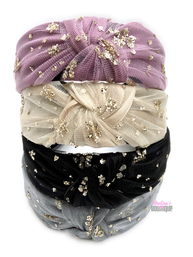Glitter Tulle Topknot Headbands