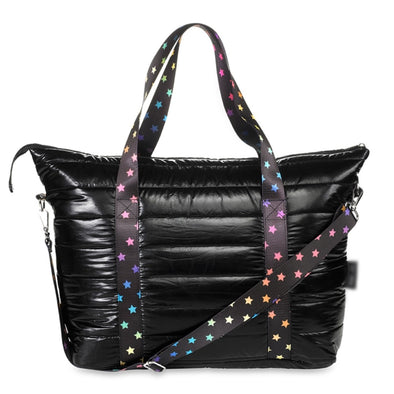 Black Puffer Tote w/ Scattered Stars