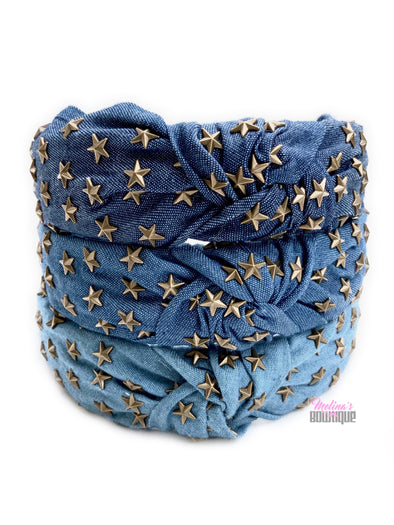 Denim Starburst Topknot Headbands