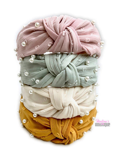 Chiffon Pearl Topknot Headbands