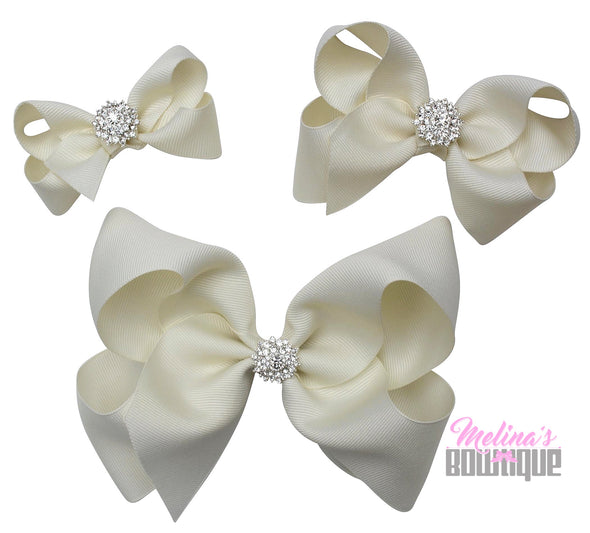 Ivory Bling Bows