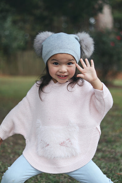 Grey Double Pom Angora Hat