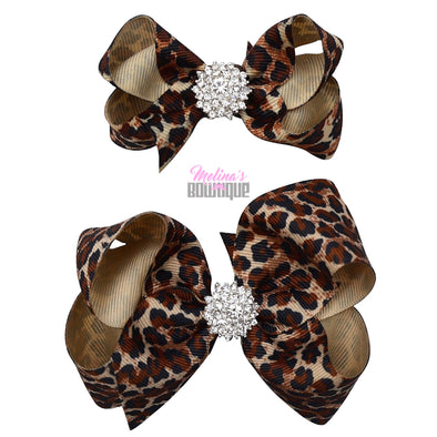 Light Leopard Bling Bows