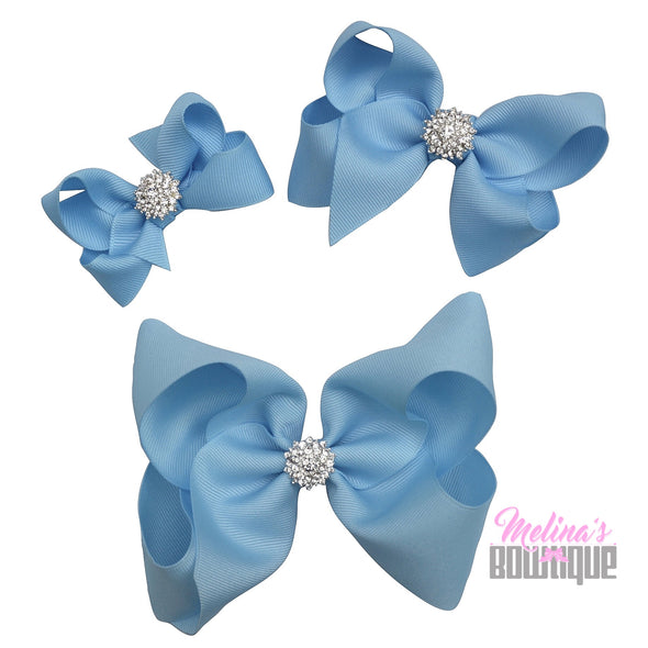Light Blue Bling Bows