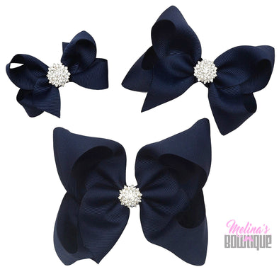 Navy Blue Bling Bows