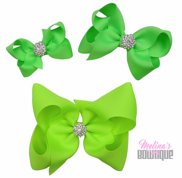 Neon Green Bling Bows