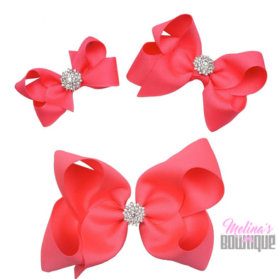Neon Pink Bling Bows