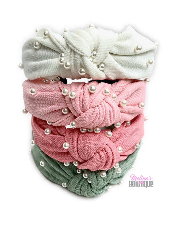 Pearl Cotton Topknot Headbands