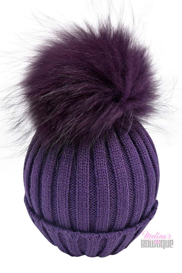 Purple Fur Pom Beanies