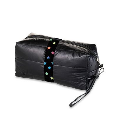 Black Puffer Cosmetic Bag Puffer w/ Scattered Stars