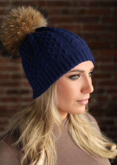 Navy Cableknit Cashmere Hat
