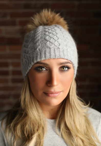 Light Grey Cableknit Cashmere Hat