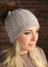Cappuccino Cableknit Cashmere Hat