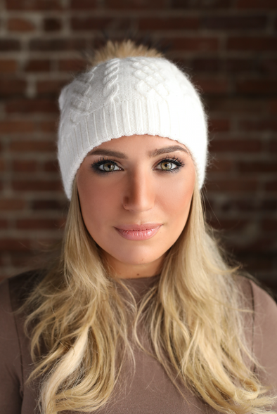 Ivory Cableknit Cashmere Hat