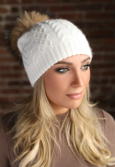 Ivory Classic Cableknit Cashmere Hat