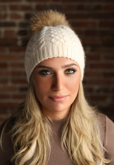 Cream Cableknit Cashmere Hat