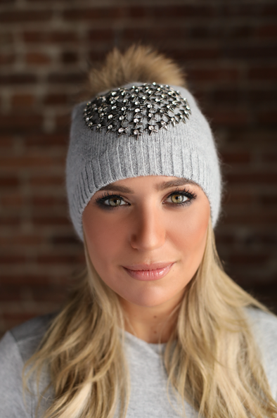 Grey Starburst Angora Hat