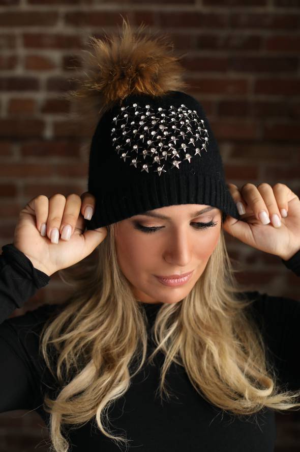 Black Starburst Angora Hat
