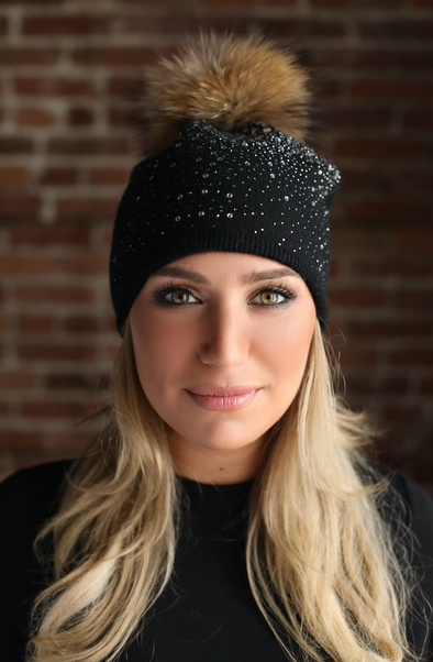 Black Slouchy Crystal Angora Hat