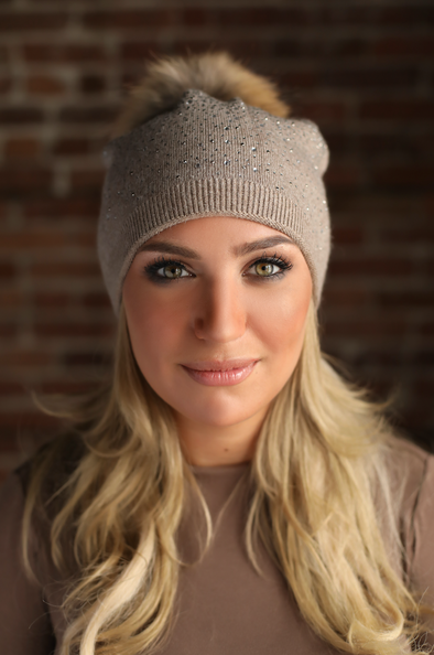 Cappuccino Slouchy Crystal Angora Hat