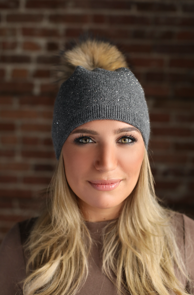 Grey Slouchy Crystal Angora Hat