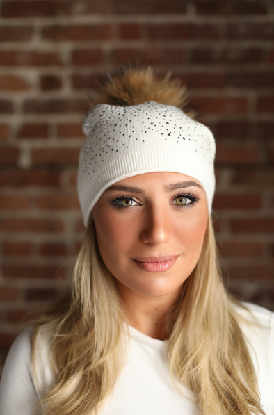 Ivory Slouchy Crystal Angora Hat