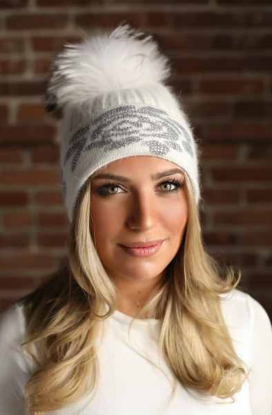 White Crystal Cashmere Hat