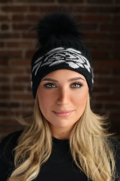 Black Crystal Cashmere Hat