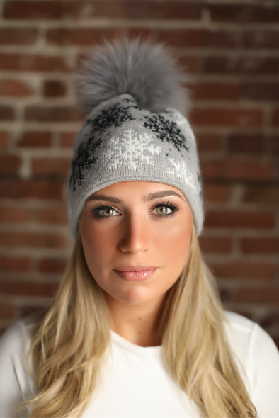 Grey Snowflake Crystal Cashmere Hat