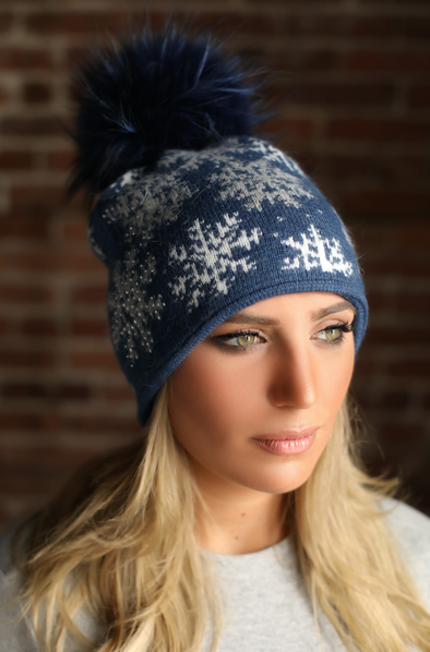 Navy Snowflake Crystal Cashmere Hat