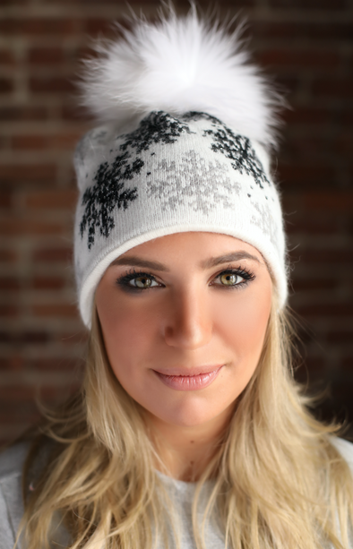 White Snowflake Crystal Cashmere Hat