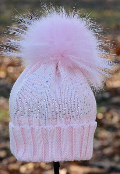 Light Pink Crystal Beanie