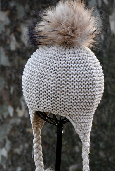 Cappuccino Single Pom Knit Hat w/ Braids