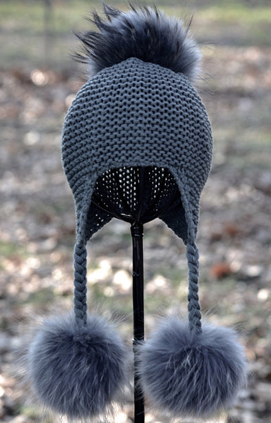 Charcoal Triple Pom Knit Hat w/ Braids