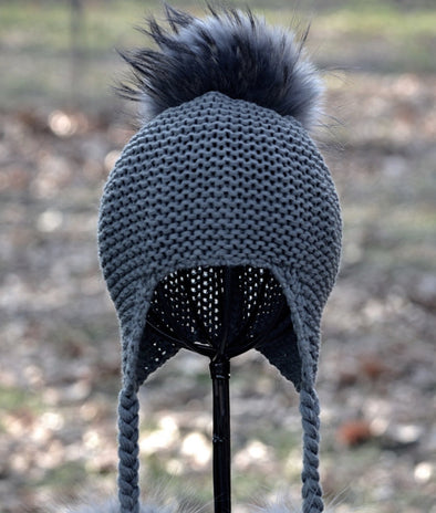 Charcoal Single Pom Knit Hat w/ Braids