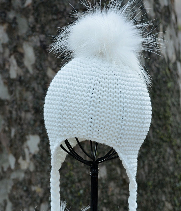 Ivory Single Pom Knit Hat w/ Braids