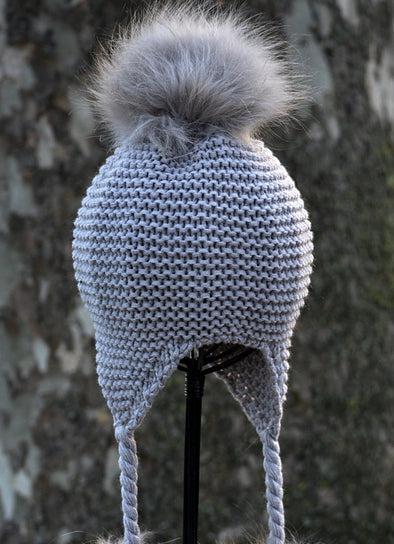 Light Grey Single Pom Knit Hat w/ Braids