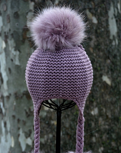 Mauve Single Pom Knit Hat w/ Braids