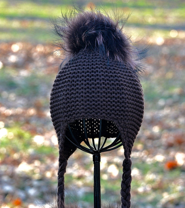Mocha Single Pom Knit Hat w/ Braids