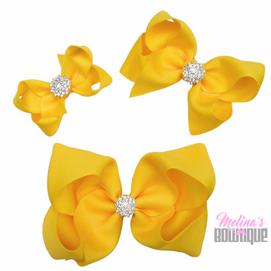Canary Yellow Bling Bows