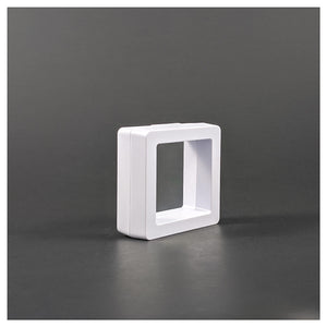 Square - 2 inch - 3D Floating Frame 2-Sided Display Case - White